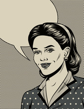 Black And White Vector Illustration In The Style Of The 40s. Beautiful Girl Smiling. Poster In Vintage Style. Fashionable Housewife With Empty Place For Text. Graphic Design With Comic Elements.