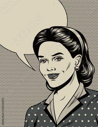 Photographie  Black and white vector illustration in the style of the 40s