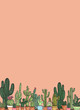 cactus in a pots on white background ,illustration