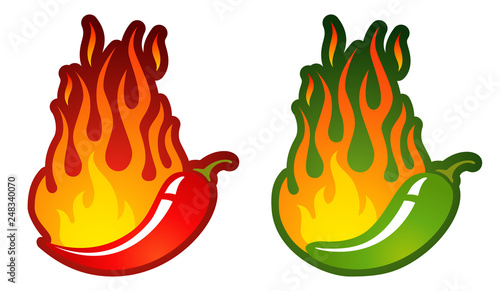 Photo  Vector logo with chili peppers