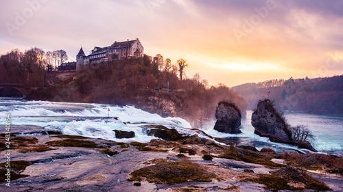 Foto auf AluDibond Lavendel Rhinefall Waterfall in Switzerland