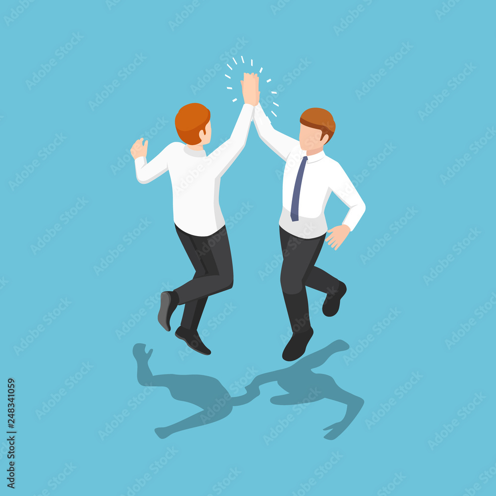 Fototapety, obrazy: Isometric two businessmen jumping and giving high five in the air