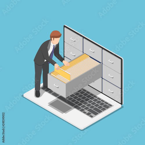 Fotografie, Obraz  Isometric businessman manage document folders in cabinet inside the laptop scree