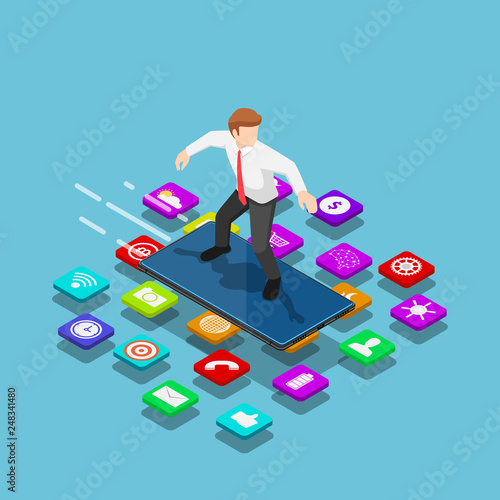 Obraz Isometric businessman use smartphone to surfing on the mobile application - fototapety do salonu