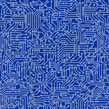 Blue Circuit Board Seamless Pattern Texture. High-tech Background In Digital Computer Technology Concept. Abstract Illustration.