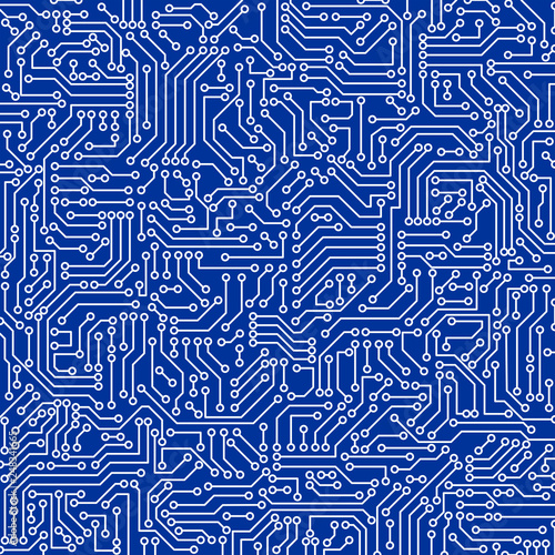 Foto auf AluDibond Boho-Stil Blue circuit board seamless pattern texture. High-tech background in digital computer technology concept. Abstract illustration.