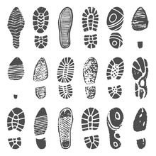 Shoes Footprint Silhouette. Sn...