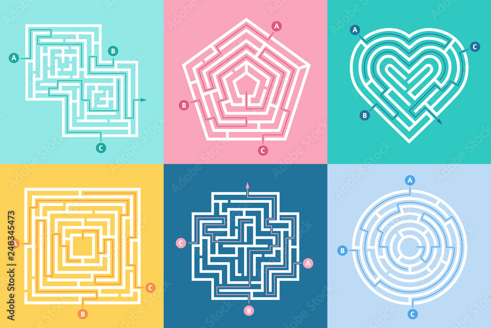 Fototapeta Maze entrance. Find right way, kids labyrinth game and choice mazes entrances letters vector illustration set