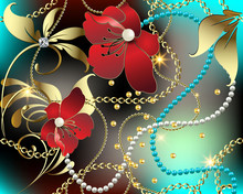 3d Floral Jewelry Gemstones Vector Seamless Pattern. Colorful Ornate Glowing Background. Modern Repeat Shiny Backdrop. Red 3d Flowers, Leaves, Diamond, White Pearls, Gold Chains, Chaplet, Beads.