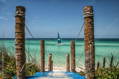 Catamaran on a beach at Cayo Coco, Cuba Canvas Print
