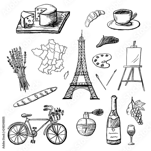 Set Of Hand Drawn Icons Of French Culture Charcoal Drawing Of France Map Champagne Paris Etc Black And White Doodle Vector Illustration Buy This Stock Vector And Explore Similar Vectors At