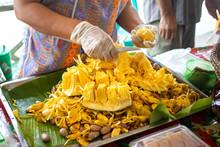 Peeling Jackfruit In The Market