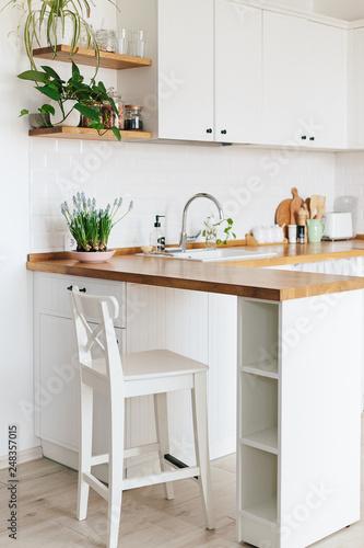 Modern white u-shaped kitchen in scandinavian style.