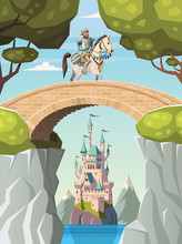 Knight On Horseback Crosses The Bridge And Castle In Background