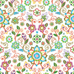 Embroidery seamless pattern with beautiful flowers. Vector floral ornament on white background. Embroidery for fashion textile and fabric.
