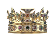 Gold Crown With Jewels Isolate...