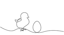 Easter Background With Egg Chick One Line Drawing Vector Illustration.
