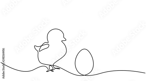 Fotografia, Obraz Easter background with egg chick one line drawing vector illustration
