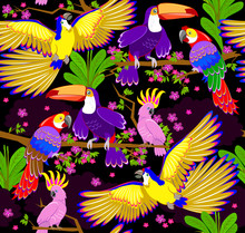 Seamless Pattern Ornament With Fantasy Tropical Birds Scattered In The Jungle On Black Background. Modern Popular Print For Wallpaper And Textile. Vector Cartoon Image.