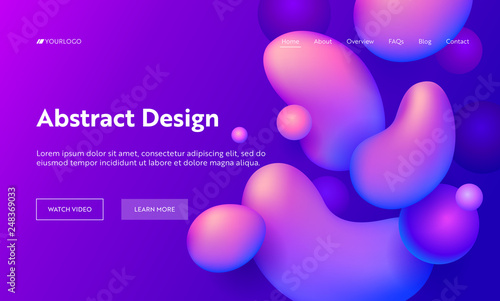 Obraz Purple Abstract Geometric Drop Shape Landing Page Background. Futuristic Digital Motion Gradient Pattern. Creative Soft Neon Liquid Backdrop for Website Web Page. Flat Cartoon Vector Illustration - fototapety do salonu