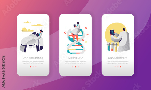 Fotografie, Obraz  Genome DNA Experimental Laboratory Character Mobile App Page Onboard Screen Set