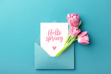 Three Pink Tulips In Turquoise Envelope On Turquoise Background With Inscription Hello Spring. Mockup With White Card. Flat Lay, Top View.