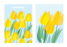 Yellow Decorative Tulip Floral Postcard Template