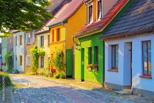 Fototapeta  Barth alte Straße, Stadt am Bodden in Deutschland - Barth typical old street, an