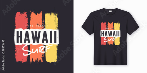 Surf in Hawaii. Stylish graphic tee design, poster, print.