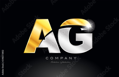 Photo combination letter ag a g alphabet with gold silver grey metal logo