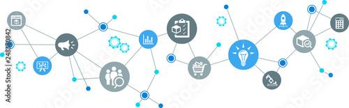 Fotografie, Obraz product management / product development / product marketing – vector illustrati