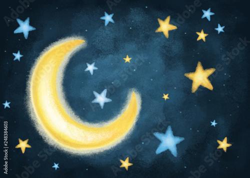 Fotografiet Noche con luna y estrellas