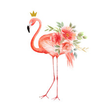 Pink Flamingo With A Bouquet Of Flowers And A Crown On A White Background