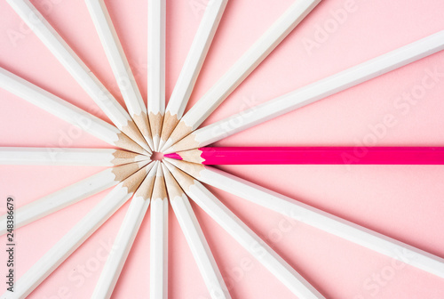 Photo color pencil with leadership, teamwork concept