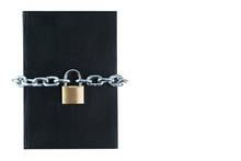 Black Book With Chain And Lock On White Background