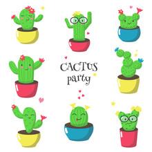 Cute Funny Cartoon Cactuses, V...