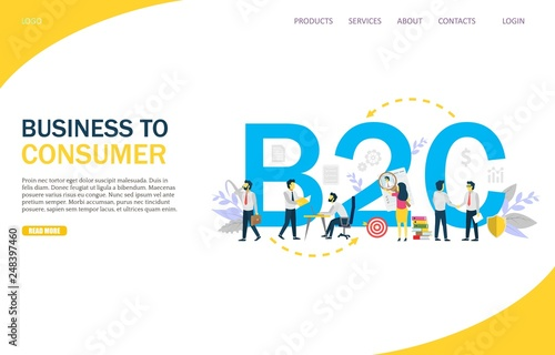 Photo  Business to consumer vector website landing page design template