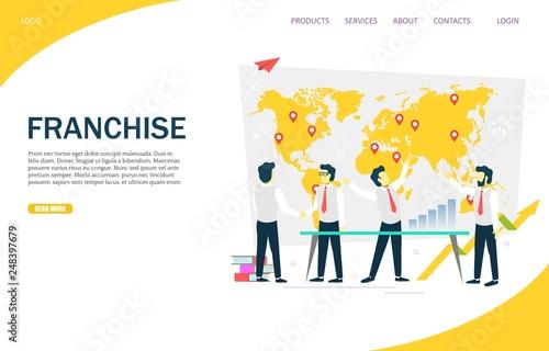 Photo  Franchise vector website landing page design template