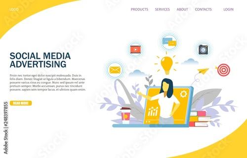 Photo  Social media advertising vector website landing page design template