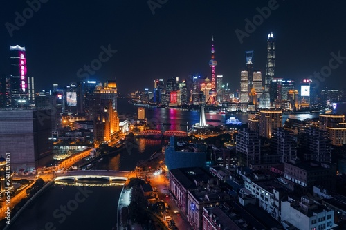 Türaufkleber Shanghai Shanghai Pudong aerial night view