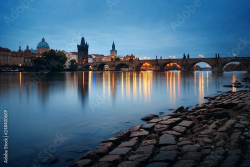 Photo  Prague skyline and bridge