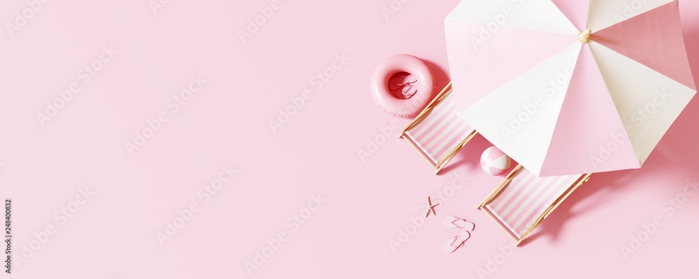 Fototapeta Top view Beach umbrella with chairs and beach accessories on pastel pink background. summer vacation concept. 3d rendering