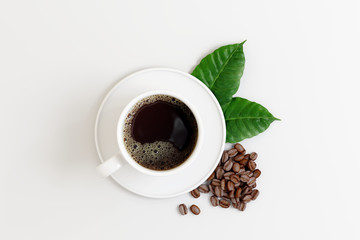 Fototapeta Do kawiarni Coffee cup with beans and leaf on white bright background. 3d rendering