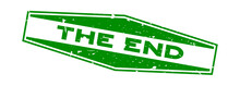 Grunge Green The End Word Hexagon Rubber Seal Stamp On White Background