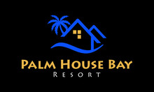 Palm House Bay Resort Logo Design Template And Inspiration. Premium Real Estate Business Logo, With Palm Tree, Houses, And Beach Tide Sign