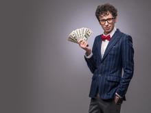 Man With Fan Of Money