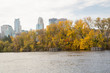 Mississippi River running along the tree lined shores and through Minneapolis Minnesota