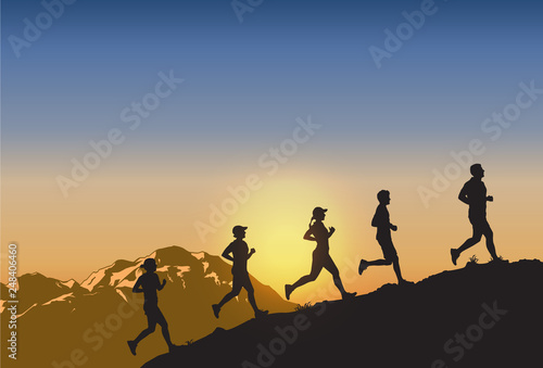 Canvas Print Silhouette of people running uphill, Vector
