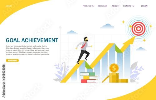 Photo  Goal achievement vector website landing page design template