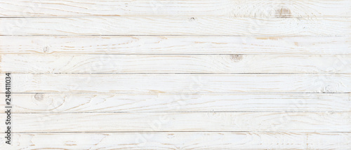 Foto auf Leinwand Holz white wood texture background, top view wooden plank panel
